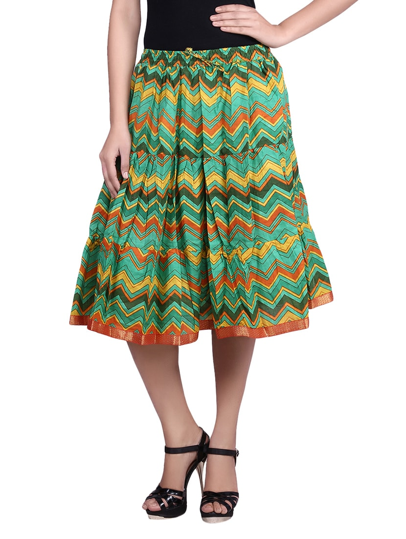 Multicolored Chevron Printed Cotton Gathered Short Skirt - By