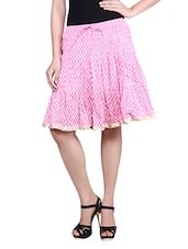 Pink Printed Cotton Gathered Skirt - By