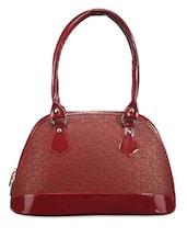 Maroon Embossed Handbag - Utsukushii