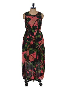 Green Floral Printed Maxi Dress - 399