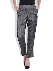 Black Stripped Ankle-length Pants - By
