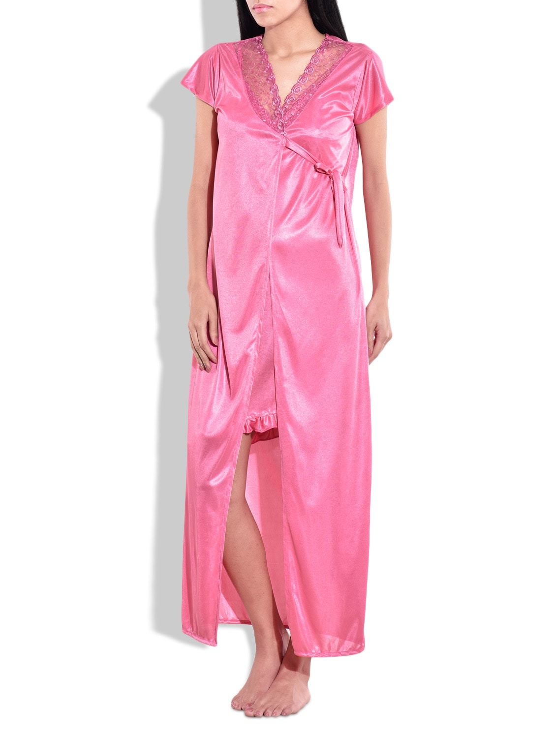 Buy Pink Satin Net Lace Nighty By Kismat Fashion Online Shopping