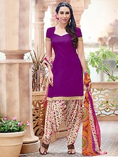 Purple And Beige Printed Semi Stitched Suit Set - By