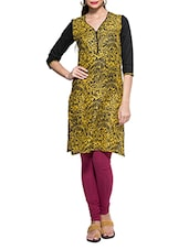 Yellow And Black Printed Kurta With Color Block Sleeves - ZOVI