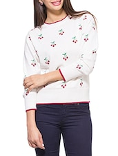 Off-white Cherry Print Round Neck Full Sleeved Sweater - ZOVI