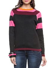 Black Pullover With Round Neck, Full Sleeved & Multicolored Stripes - ZOVI