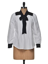 White Classy Pleated Bow Shirt - Popnetic