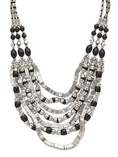 Black And Silver Beaded Layered Necklace - By