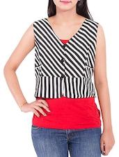 Monochrome Striped Georgette Short Jacket - By