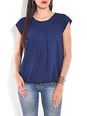 Navy blue pleated short sleeved top -  online shopping for Blouses