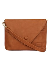 Brown Faux Leather Sling Bag - By
