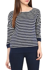 White And Navy Blue Cotton Jersey Striped Top - By