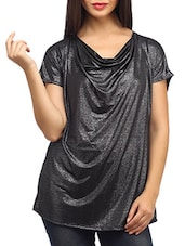 Shimmer Black Loose Fitted Viscose Top - SUHI