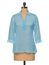 BluePolka Dot  Colour Polyester Top - LA ARISTA