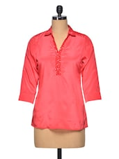 Pink Colour Shirt Collar Polyester Top - LA ARISTA