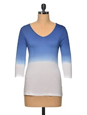Blue Ombre V Neck Colour Cotton Top - LA ARISTA