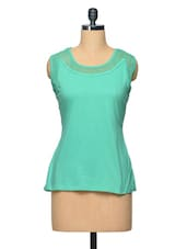 Green Colour Cotton Top - LA ARISTA