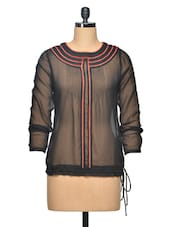 Black Sheer Embroidered Polyester Top - LA ARISTA