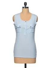 Blue Cotton Casual Top - LA ARISTA