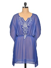 Blue Colour Embroidered Polyester Top - LA ARISTA