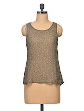 Military Green Sleevless Polyester Top - LA ARISTA