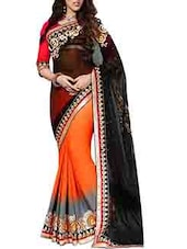 Black & Orange Georgette Chiffon Embroidered Saree - By