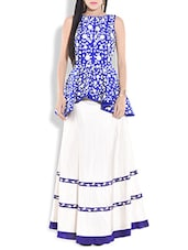 Blue And White Embroidered Peplum Top And Skirt - By