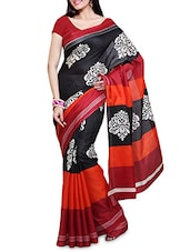 Black Printed Bhagalpuri Silk Saree - By