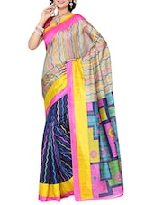 Multicolored Striped And Geometric Printed Bhagalpuri Silk Saree - By