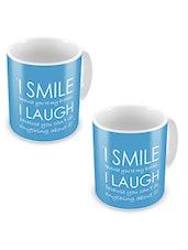 Blue Printed Ceramic Mug, 300 Ml (Set Of 2) - By
