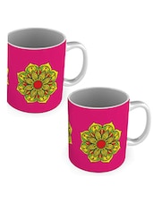 Pink Printed Ceramic Mug, 300 ml (Set of 2) -  online shopping for Mugs
