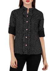 Black Cotton Printed Shirt - By