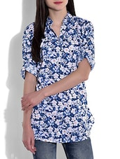 Blue And White Floral Printed Cotton Top - By