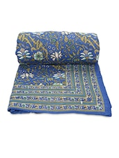 Blue Printed Cotton Reversible Double Bed Quilt - By
