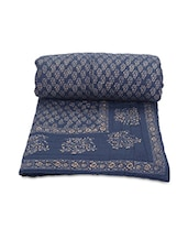 Navy Blue Printed Cotton Reversible Double Bed Quilt - By