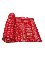 Red Printed Cotton Reversible Double Bed Quilt - By