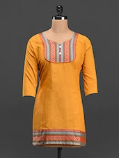 Brocade Cotton Kurti - Purple Oyster