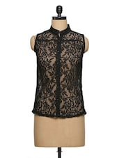Net Black Top With Front Button - Purple Oyster