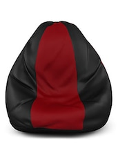 Black And Red Leatherette Bean Bag (without Beans) - By