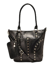 Black Faux Leather Hand Bag - By
