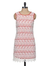 Red And White Lace  Shift Dress - KARYN
