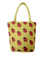 Cutesy Beatle Printed Yellow Jute Handbag - Earthen Me