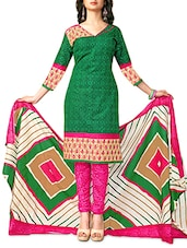 Green Printed Cotton Unstitched Suit Set - By