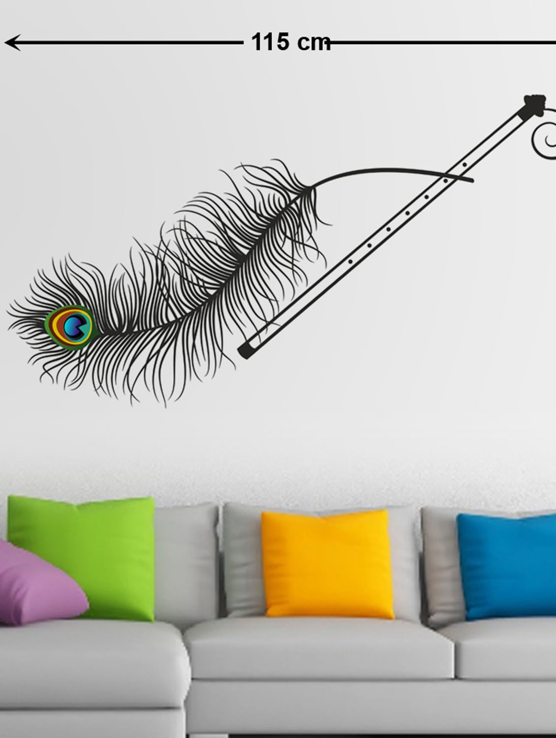 befdd60eabe Buy Wall Decals Krishna Flute And Peacock Feather for Unisex from  Stikerskart for ₹197 at 40% off