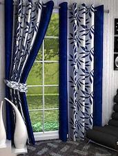Set Of 2 Dark Blue Leaves Printed Door Curtains - By