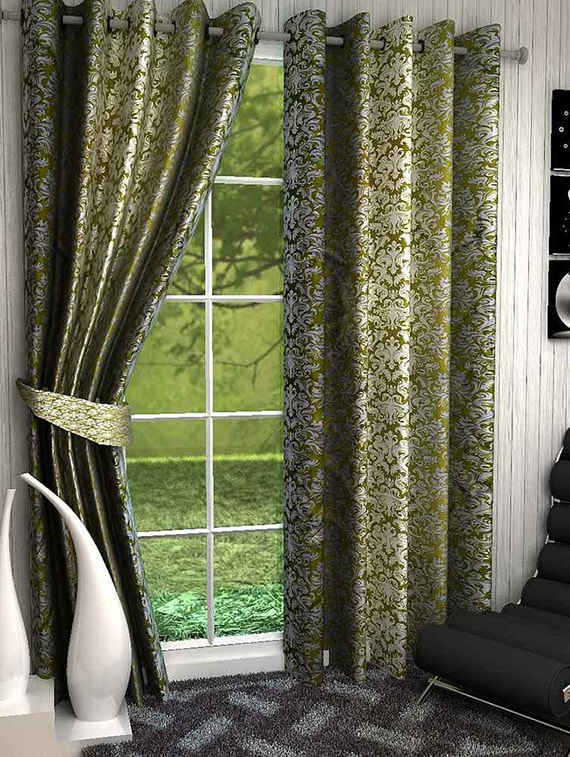 Green And Ivory Printed Door Curtains