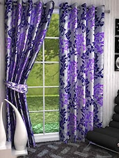 Set Of 2 Purple And Navy Blue Printed Long Door Curtains - By