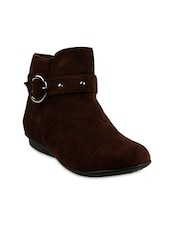 Brown Suede Buckled Ankle Boots -  online shopping for boots