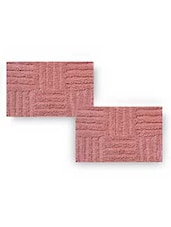 Pink Cotton Textured Set Of Two Bath Rugs - By