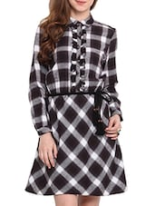Black And Grey Cotton Check Print Dress - By